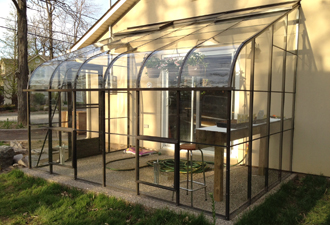 Single Glass Curved Lean-to